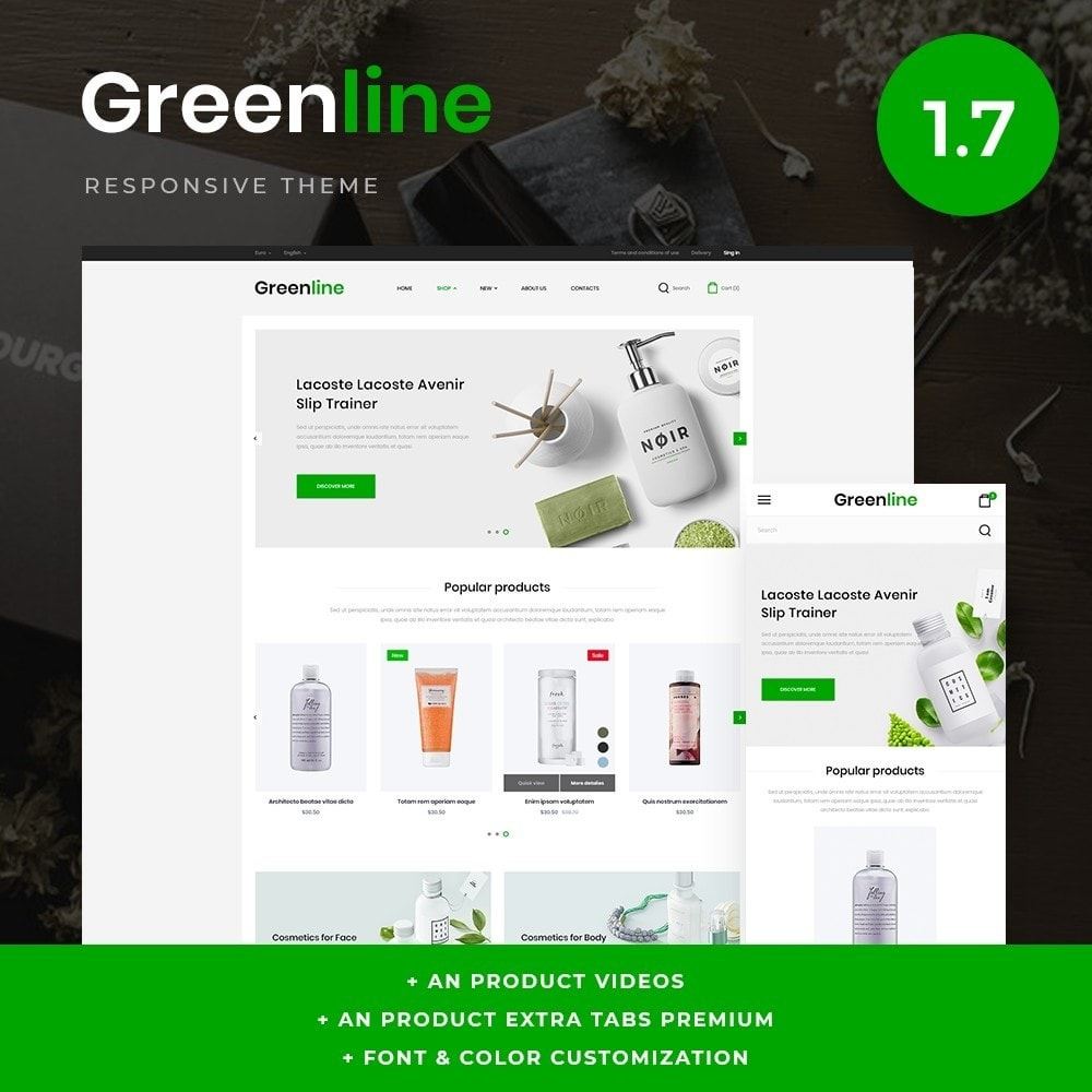 theme - Health & Beauty - Greenline Cosmetics - 1