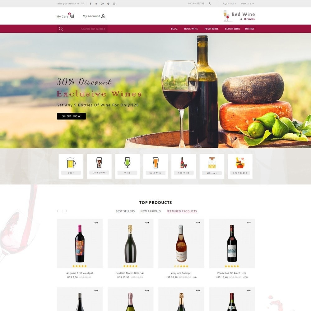 theme - Boissons & Tabac - Red Wine Online Store - 12