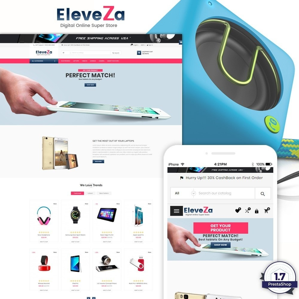 theme - Elektronik & High Tech - eleveza– Electronices Super Store v2 - 1