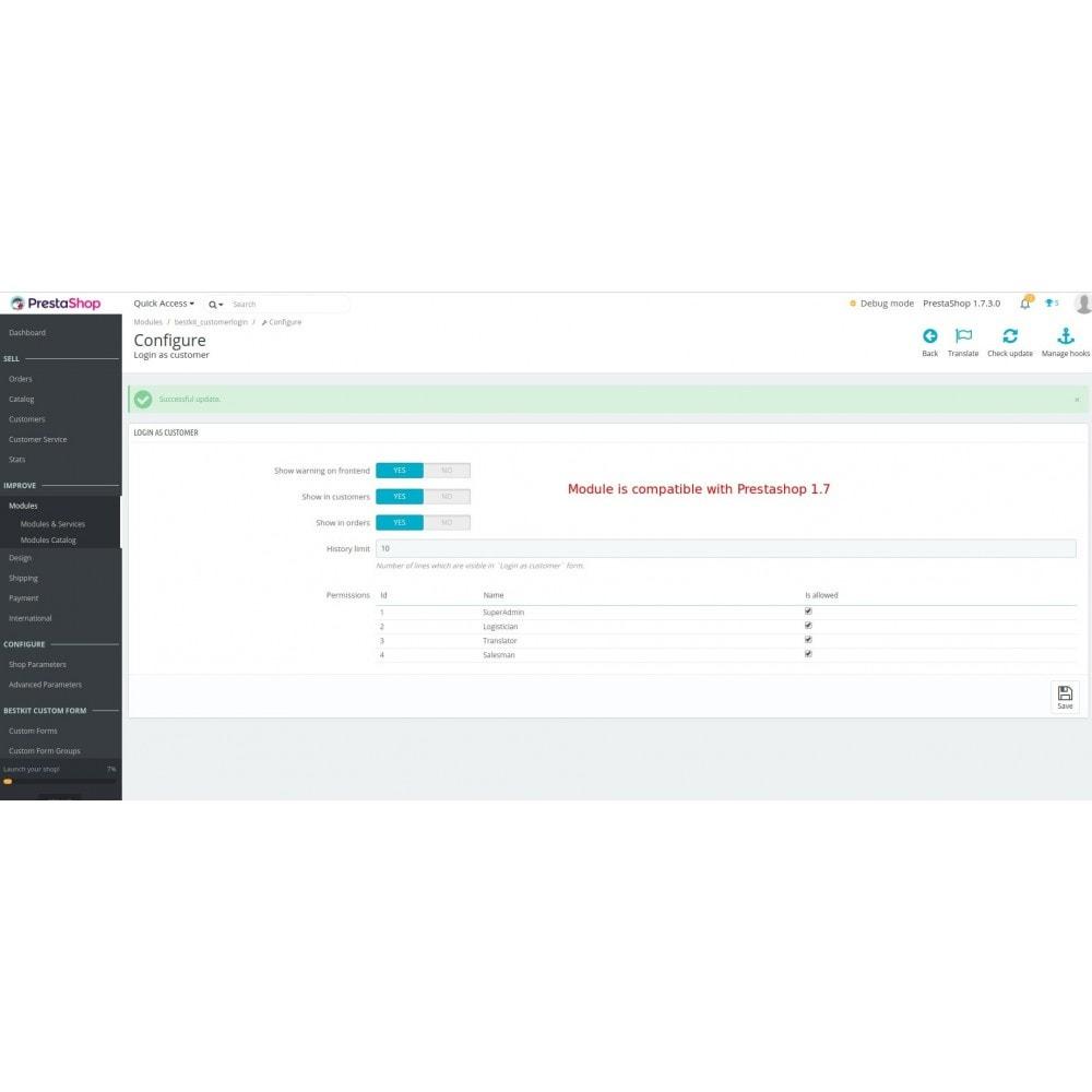 module - Security & Access - Login as customer - 7