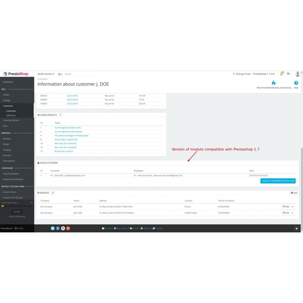 module - Безопасности и доступа - Login as customer - 8