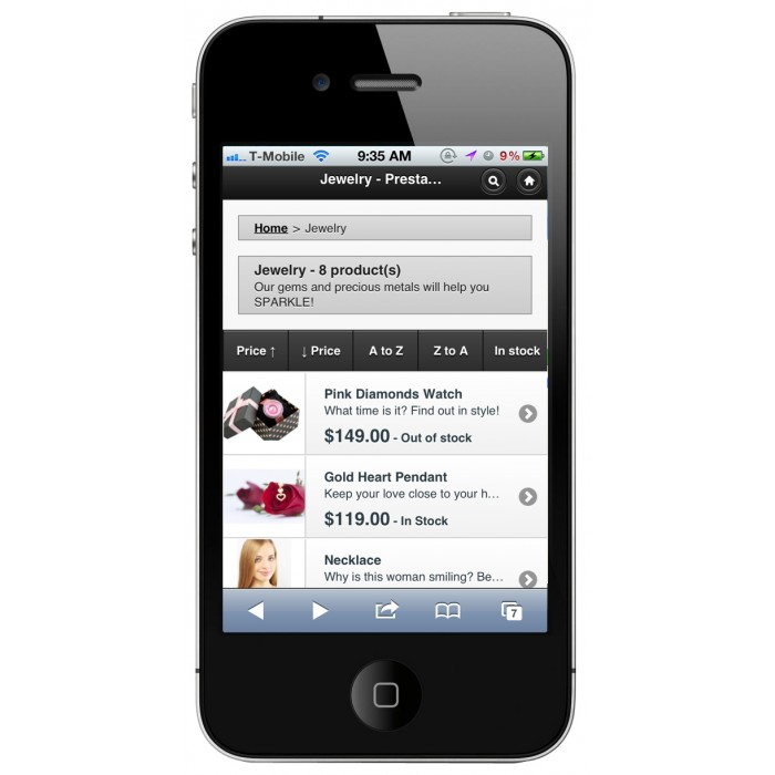 module - Mobile - PrestaShop Mobile Template - 9