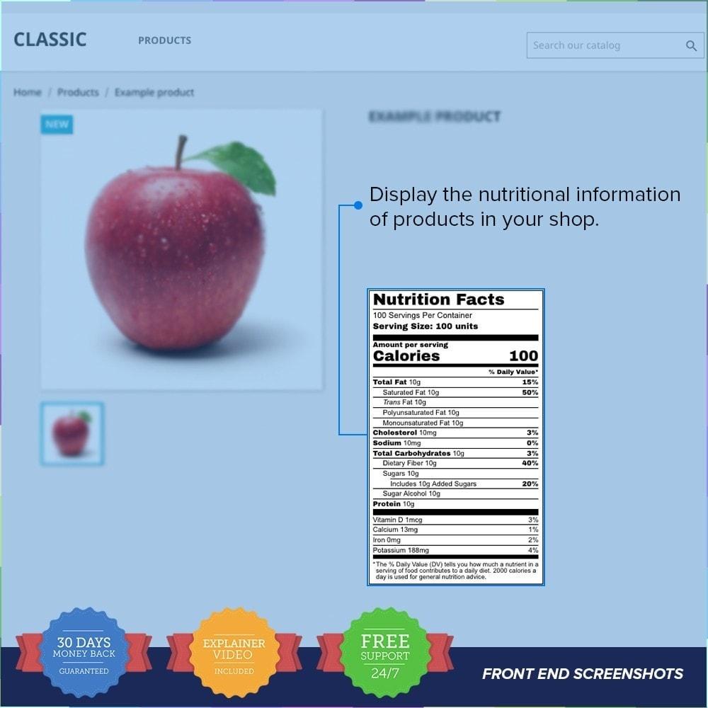 module - Altre informazioni & Product Tab - Product Nutritional Details Pro - 1