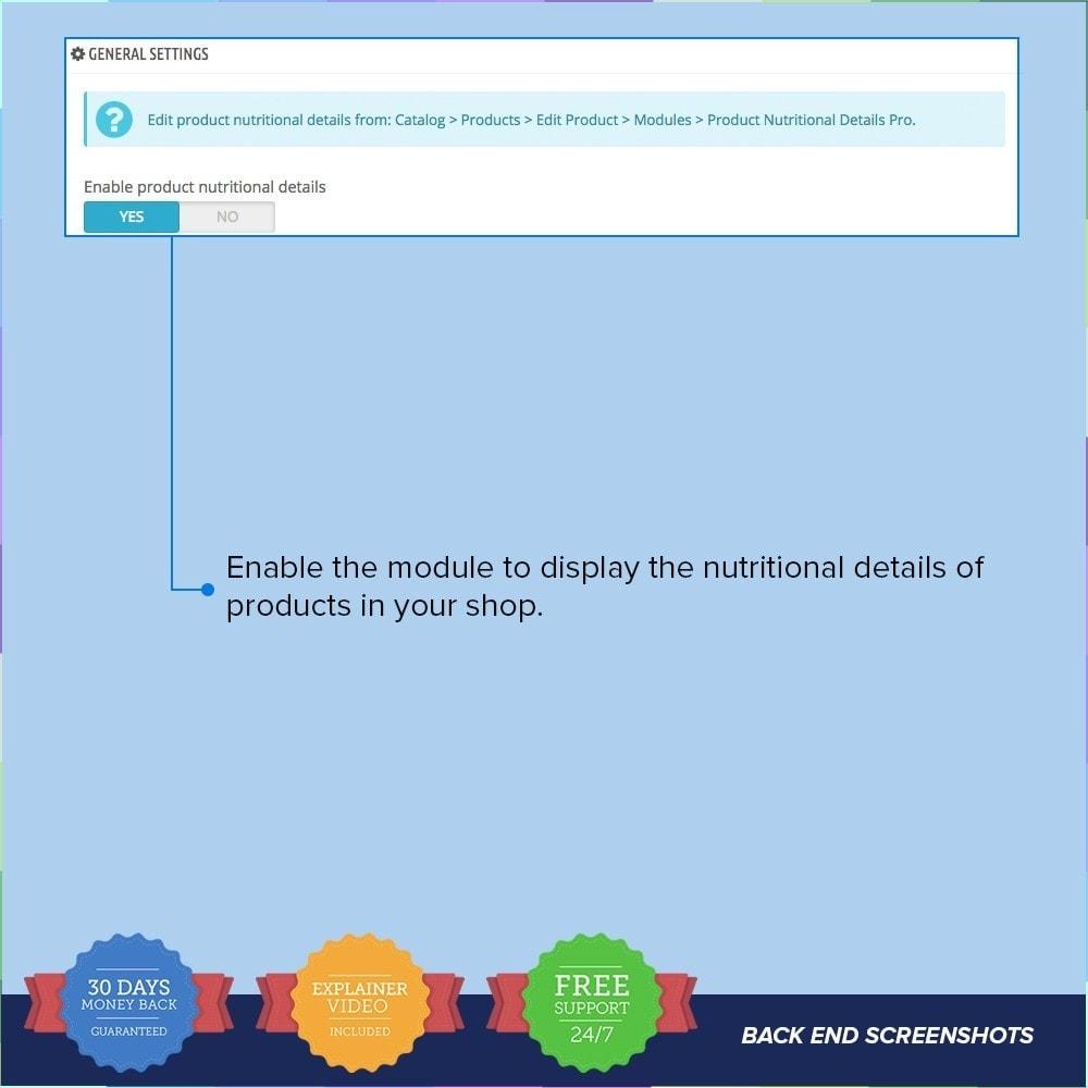 module - Information supplémentaire & Onglet produit - Product Nutritional Details Pro - 2