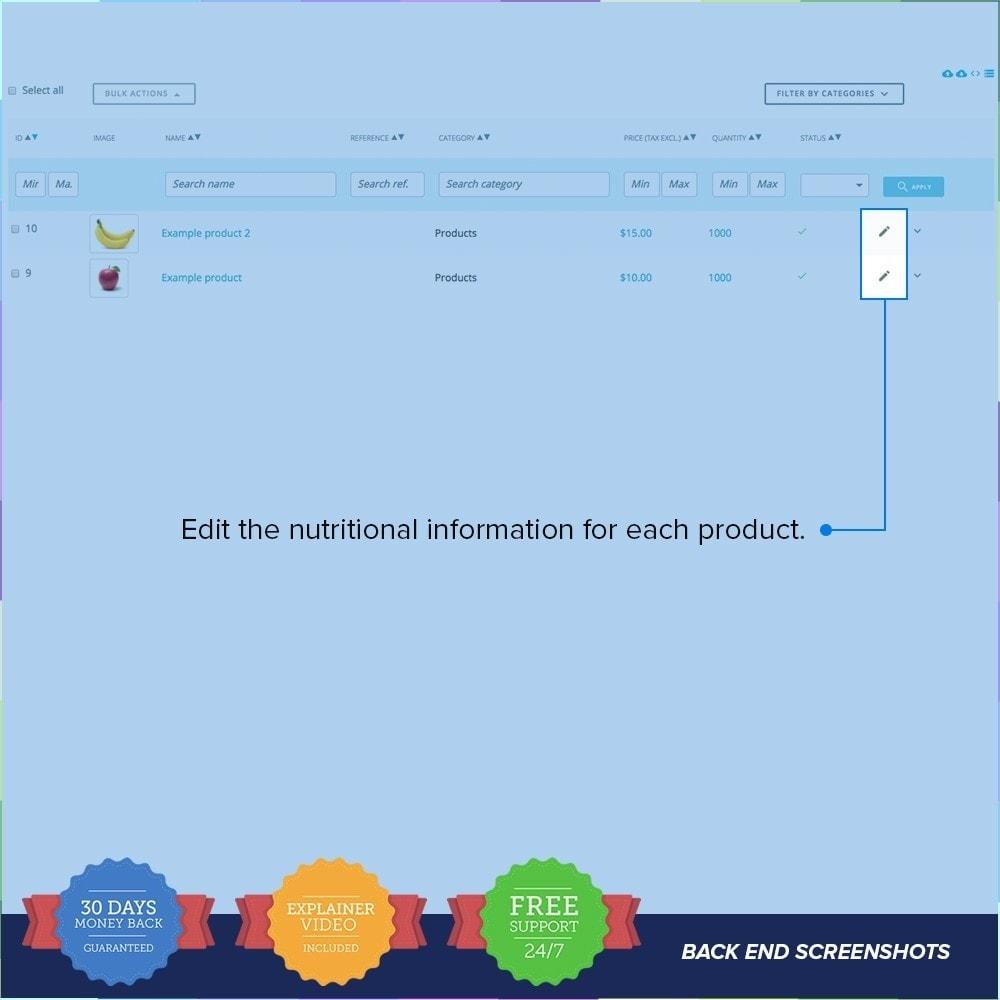 module - Information supplémentaire & Onglet produit - Product Nutritional Details Pro - 3