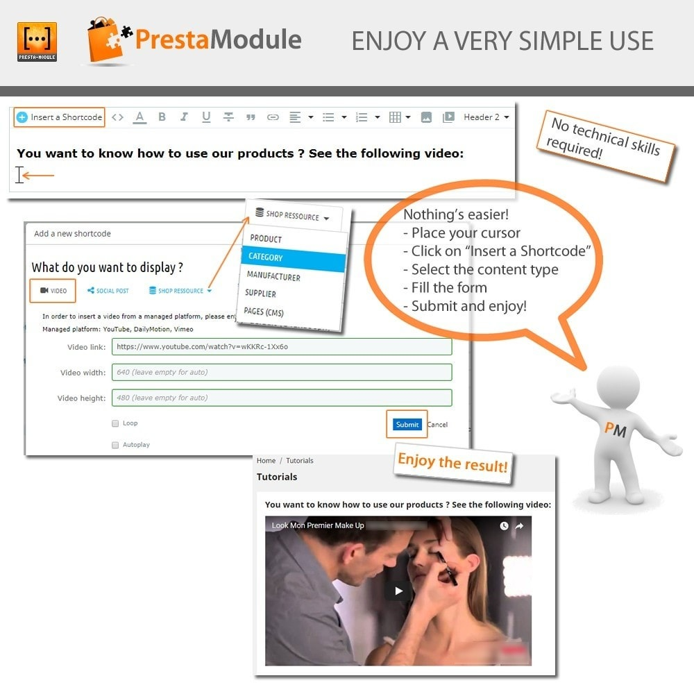 module - Personalización de la página - Advanced Shortcode - Add video, post, link, brand,... - 3