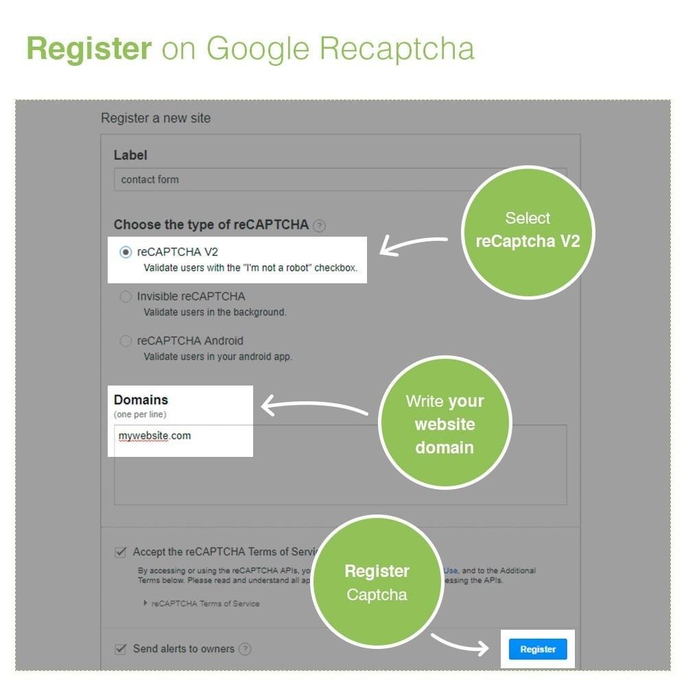 module - Security & Access - re Captcha Modulo di iscrizione e contatto - Anti spam - 5