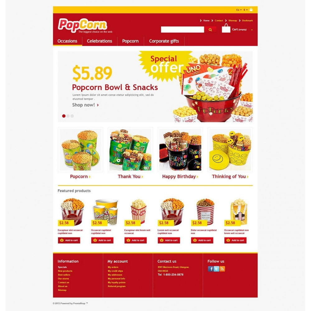 theme - Alimentation & Restauration - Responsive Pop Corn Store - 2