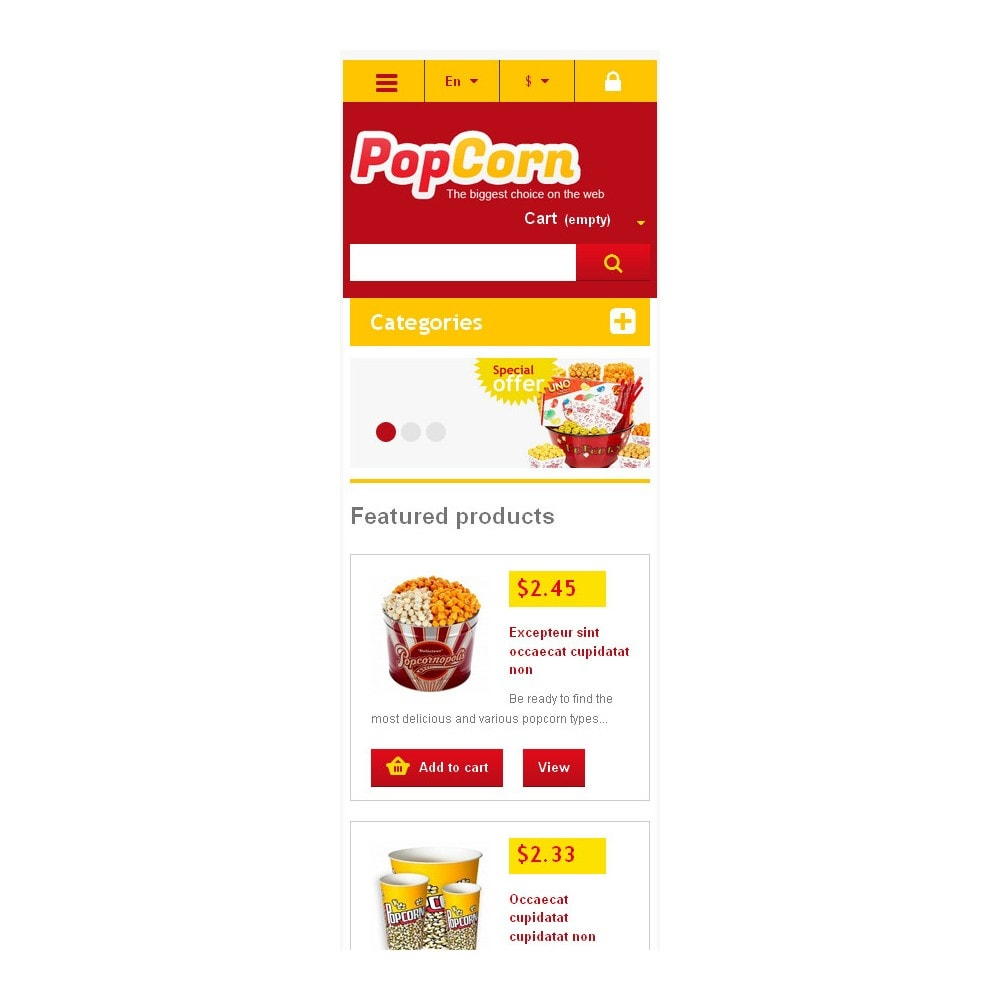 theme - Alimentation & Restauration - Responsive Pop Corn Store - 6