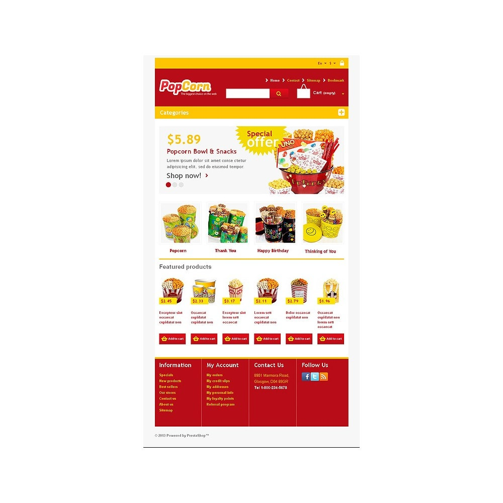 theme - Alimentation & Restauration - Responsive Pop Corn Store - 8