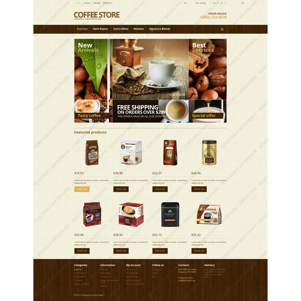 theme - Lebensmittel & Restaurants - Responsive Coffee Store - 3