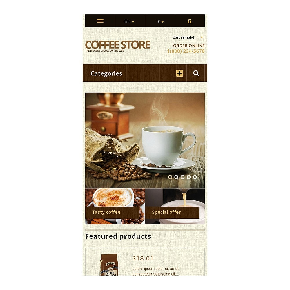 theme - Lebensmittel & Restaurants - Responsive Coffee Store - 8
