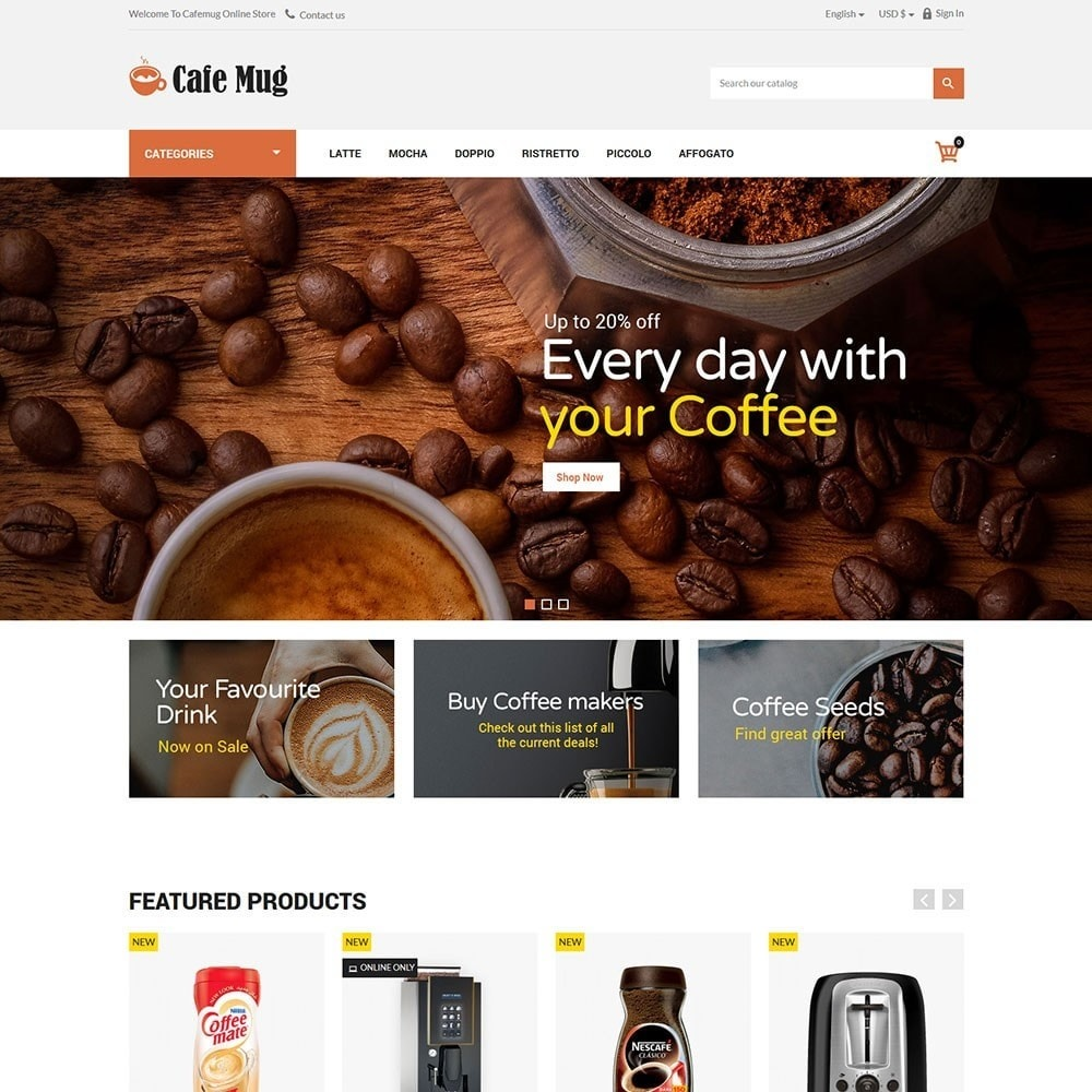 theme - Food & Restaurant - Cafemug - Coffee Online Store - 2