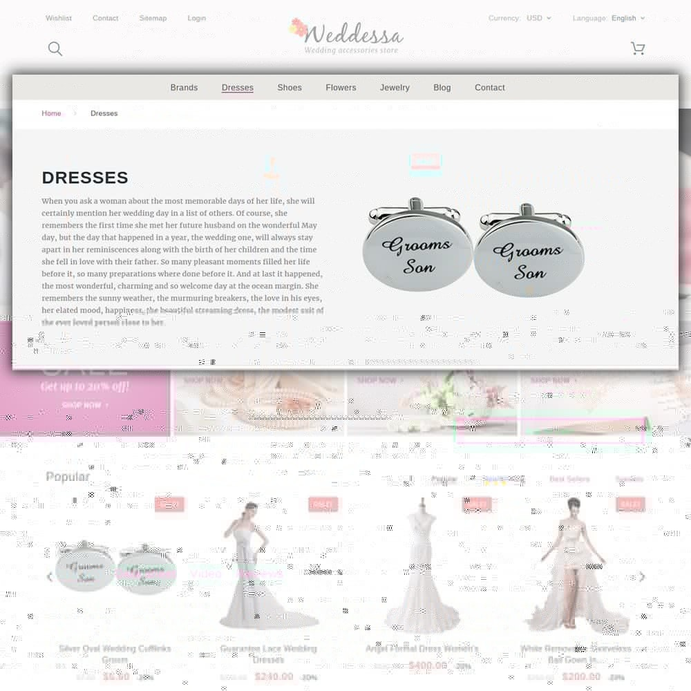 theme - Мода и обувь - Weddessa - шаблон на тему свадебный магазин - 6