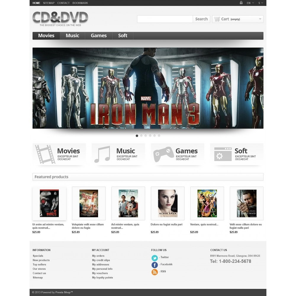 Responsive CD & DVD Store