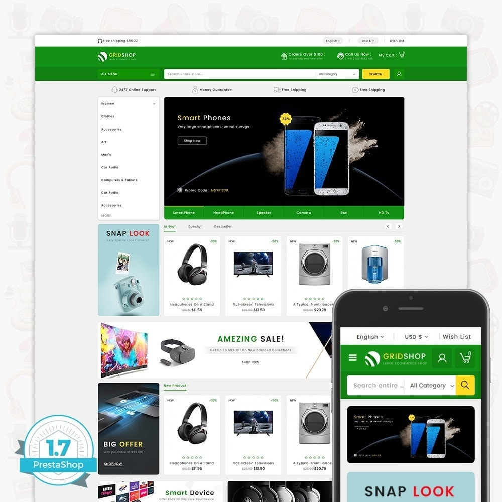 theme - Electronics & Computers - GridShop - The Large Ecommerce Store - 1
