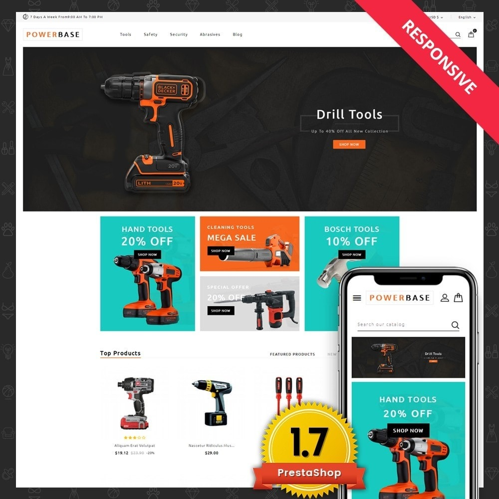 theme - Carros & Motos - Powerbase Tool Store - 1
