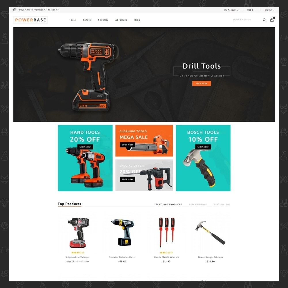 theme - Carros & Motos - Powerbase Tool Store - 2