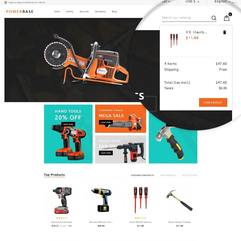 theme - Automotive & Cars - Powerbase Tool Store - 6