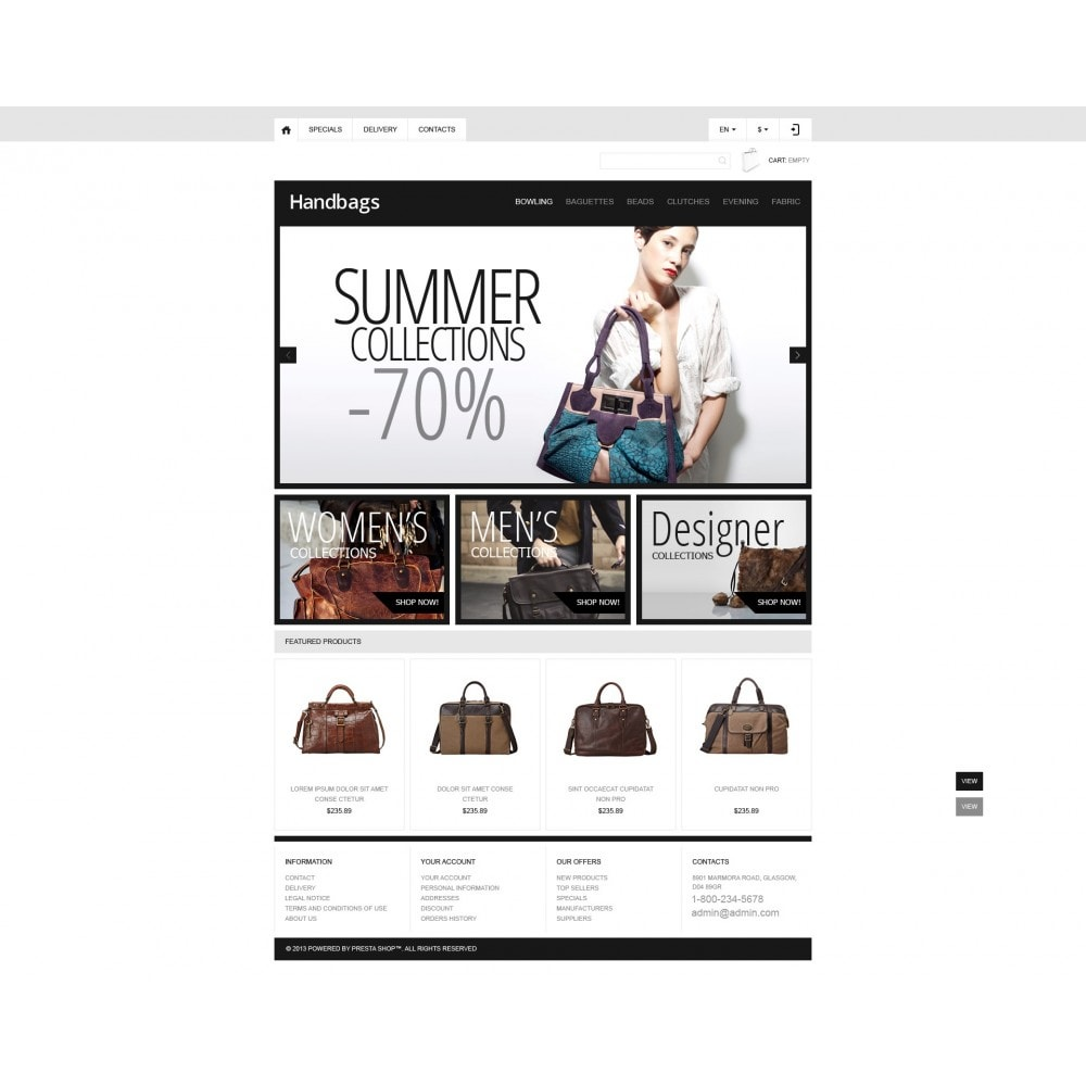 theme - Мода и обувь - Responsive Handbags Boutique - 4