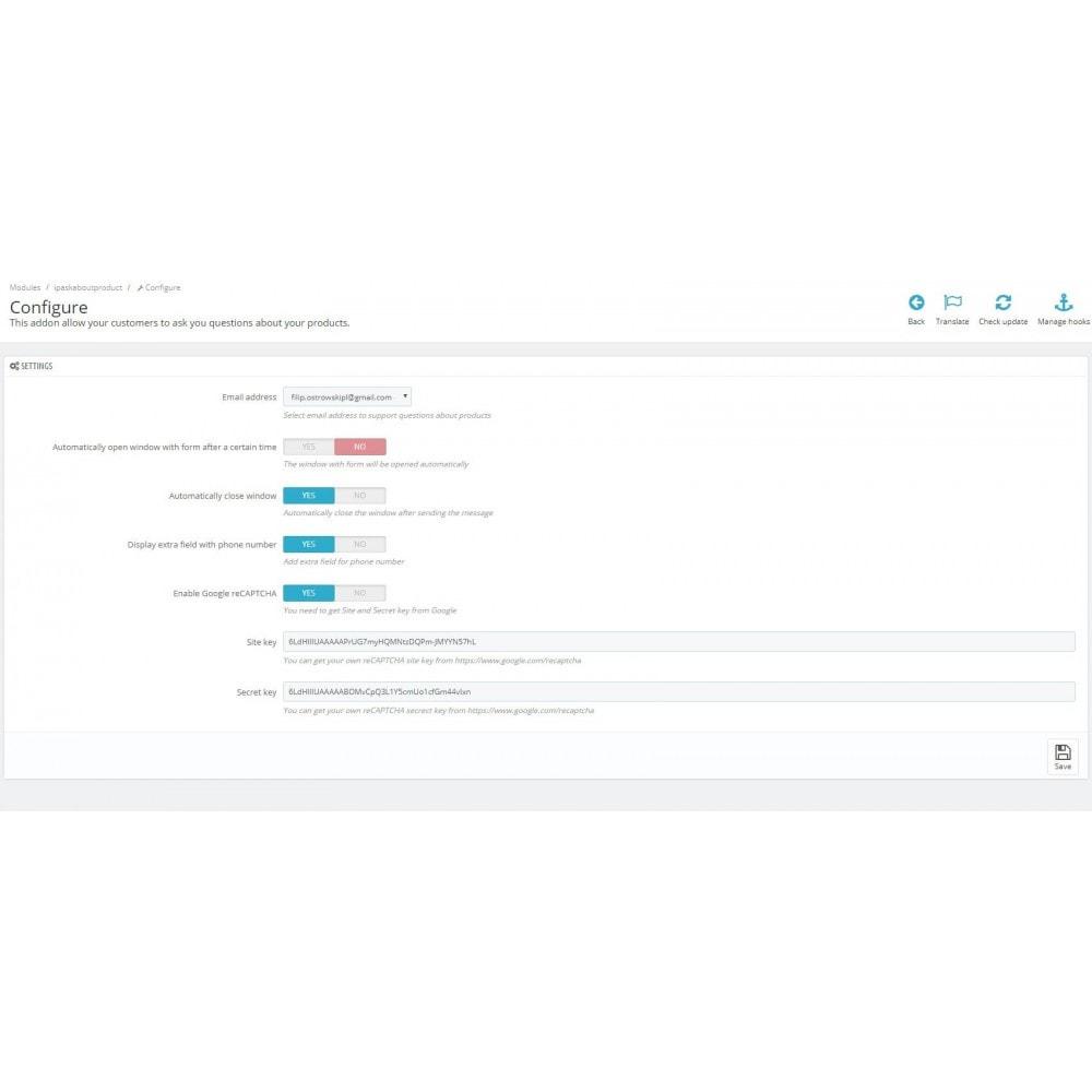 module - Kontaktformular & Umfragen - Ask about product - contact form - 2