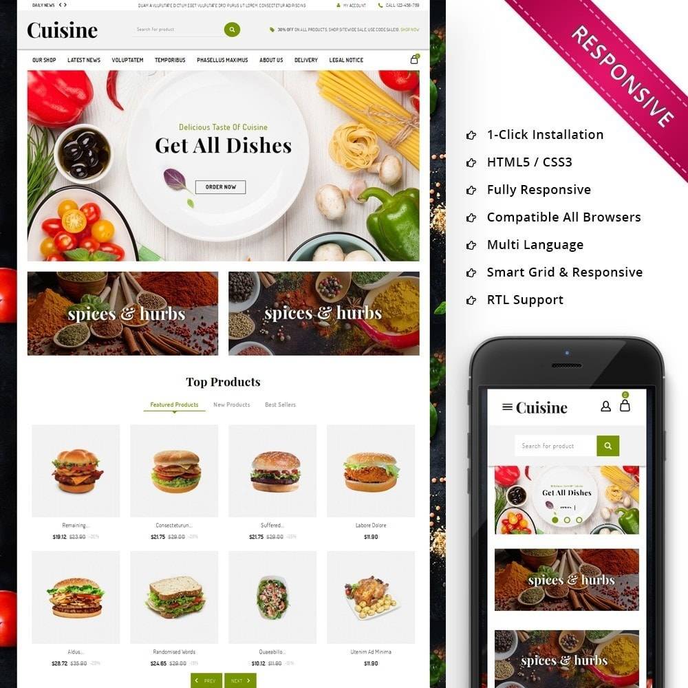 theme - Food & Restaurant - Cuisine - The Food Shop - 1
