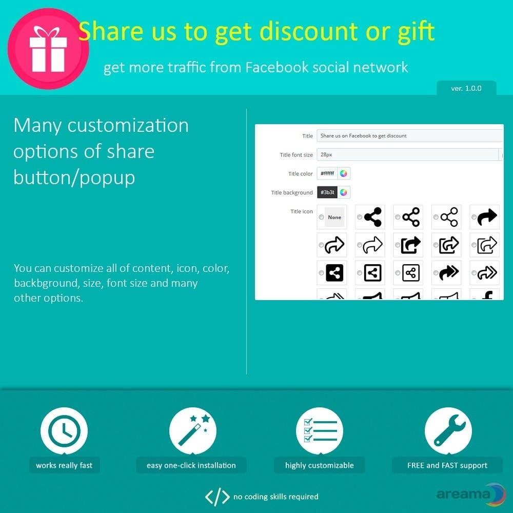 module - Share Buttons & Comments - Share us to get discount or gift - 4