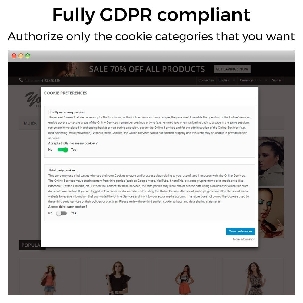 module - Legal - GDPR Cookies Law (block third party cookies) - 3