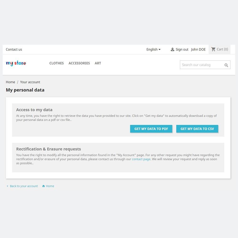 module - Jurídico - Conformidade oficial com o RGPD by PrestaShop (1.7) - 2