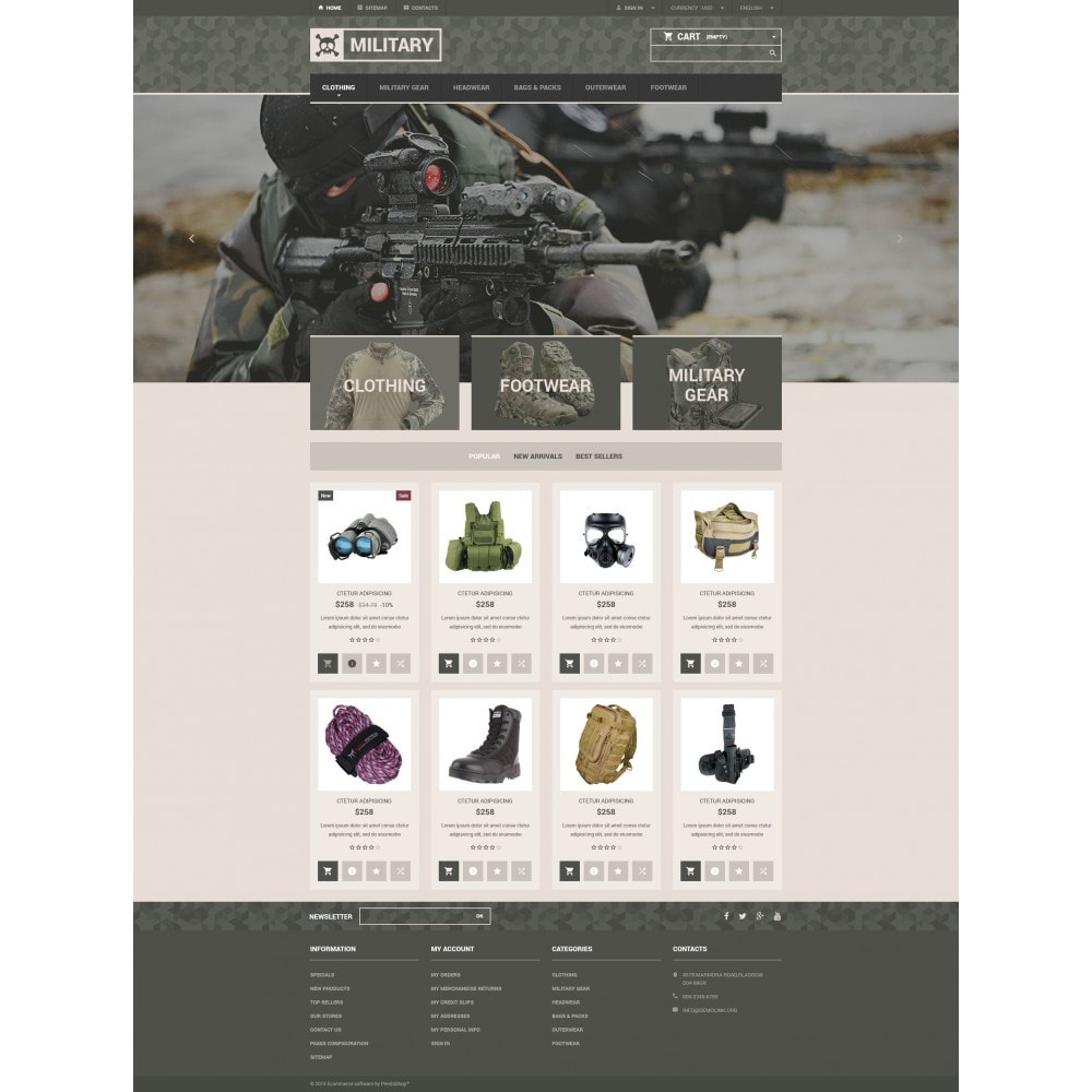 theme - PrestaShop Templates - Military Gear Store - 4