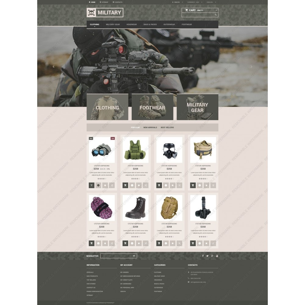 theme - PrestaShop Templates - Military Gear Store - 5