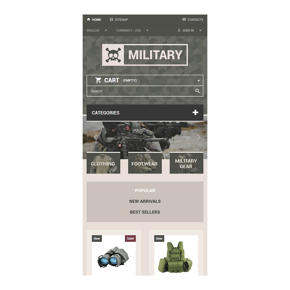 theme - PrestaShop Templates - Military Gear Store - 8