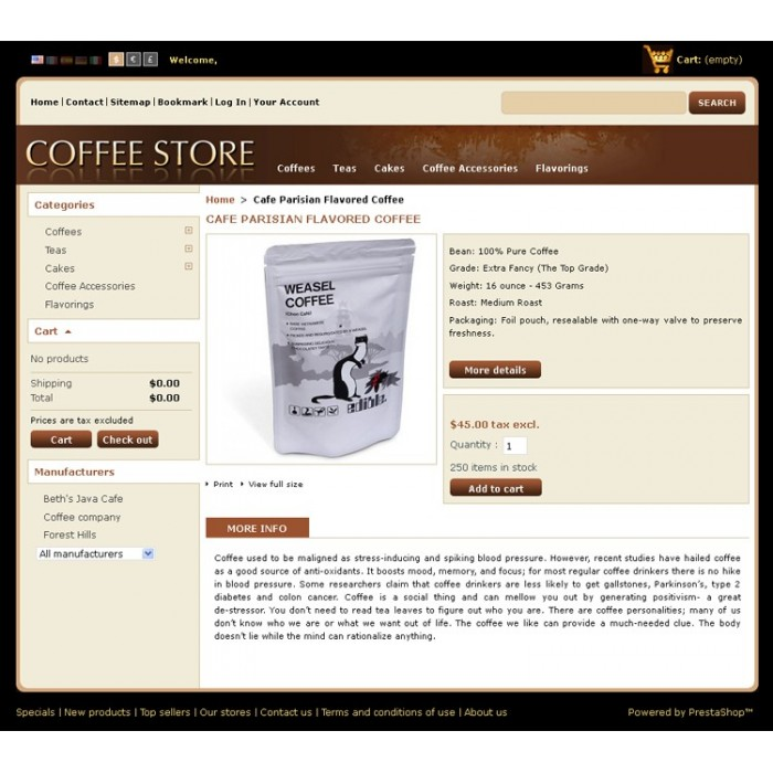 theme - Alimentation & Gastronomie - Coffee Prestashop Theme - PRS020040 - 3