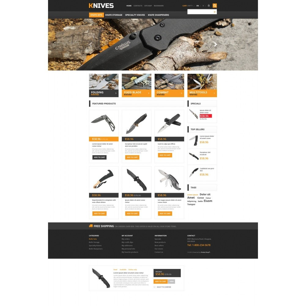 theme - Template PrestaShop - Responsive Knives Store - 4