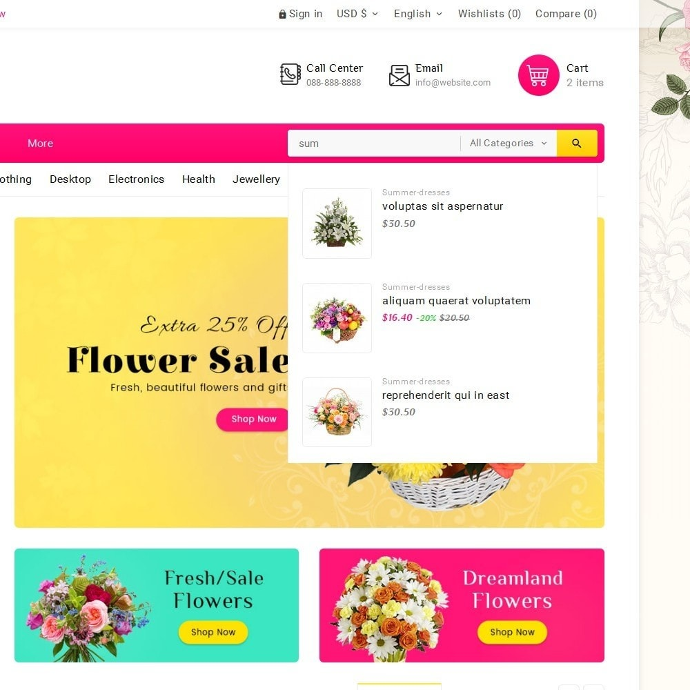 theme - Cadeaux, Fleurs et Fêtes - Blooming Flower Mega Store - 11