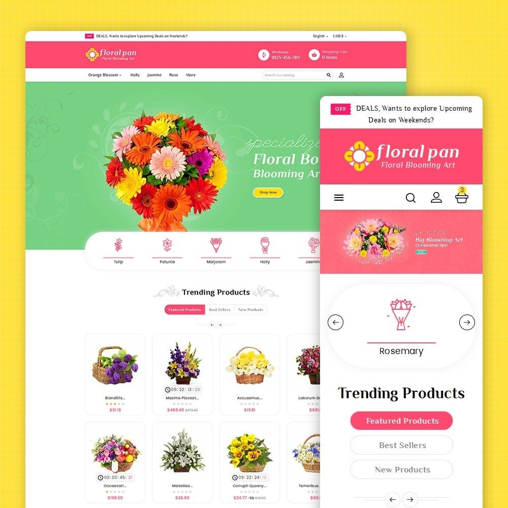 theme - Maison & Jardin - Floral Pan Bloom Works - 2