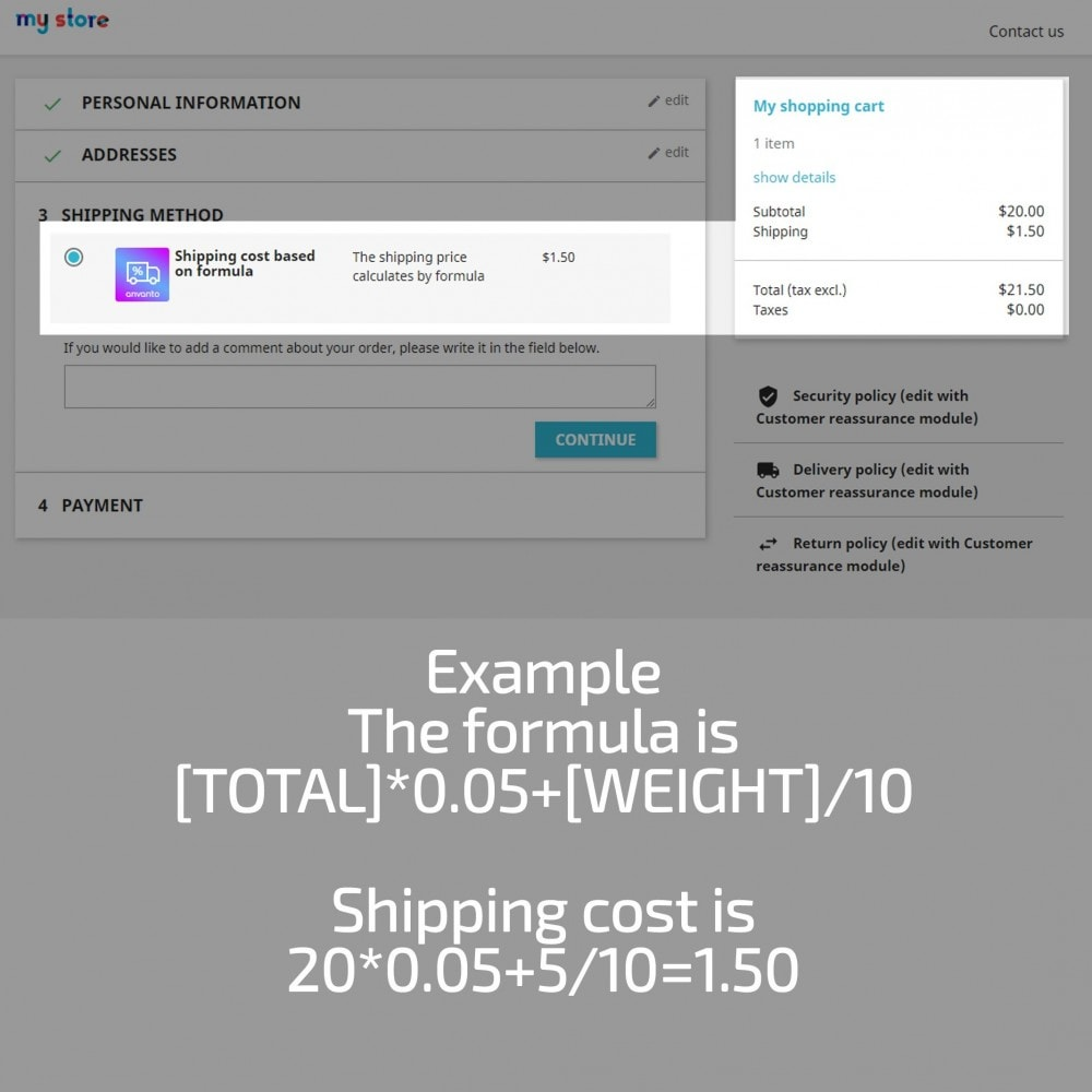 module - Shipping Costs - Shipping Cost based on Formula with Cart Total, Weight - 11