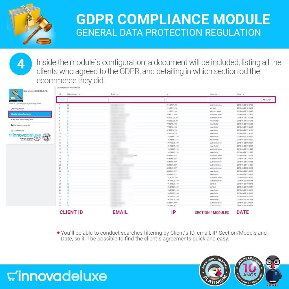 module - Legal - Data privacy extended (data protection law) - GDPR - 9