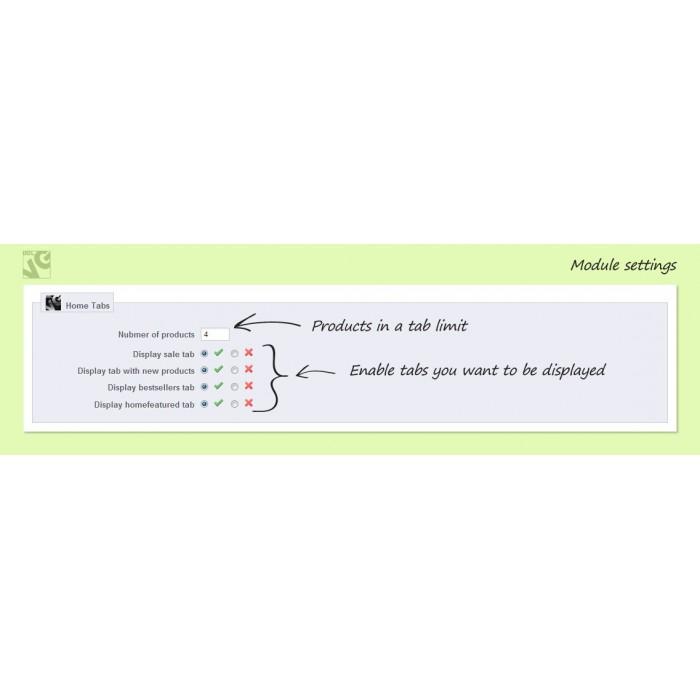 module - управления товарами на стартовой странице - Home Tabs - 2