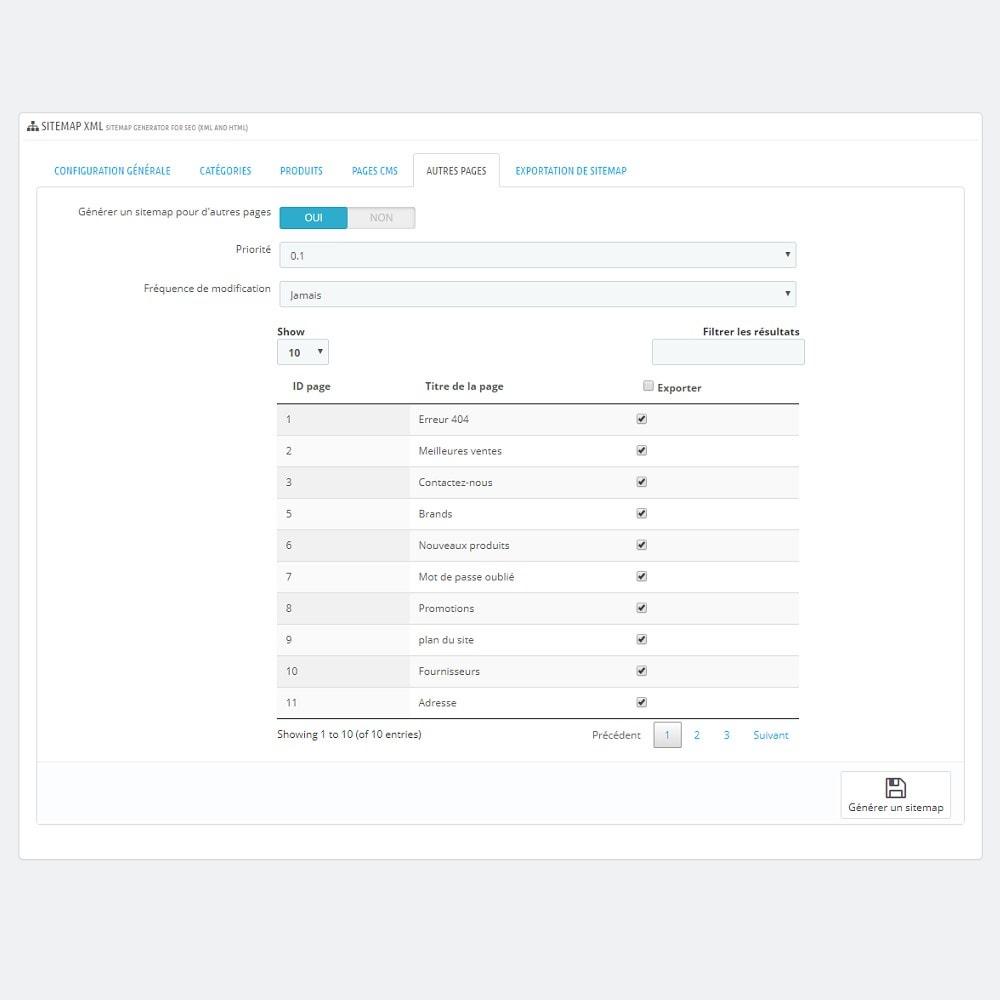 module - SEO (référencement naturel) - Générateur de Sitemap pour SEO (XML et HTML) - 7