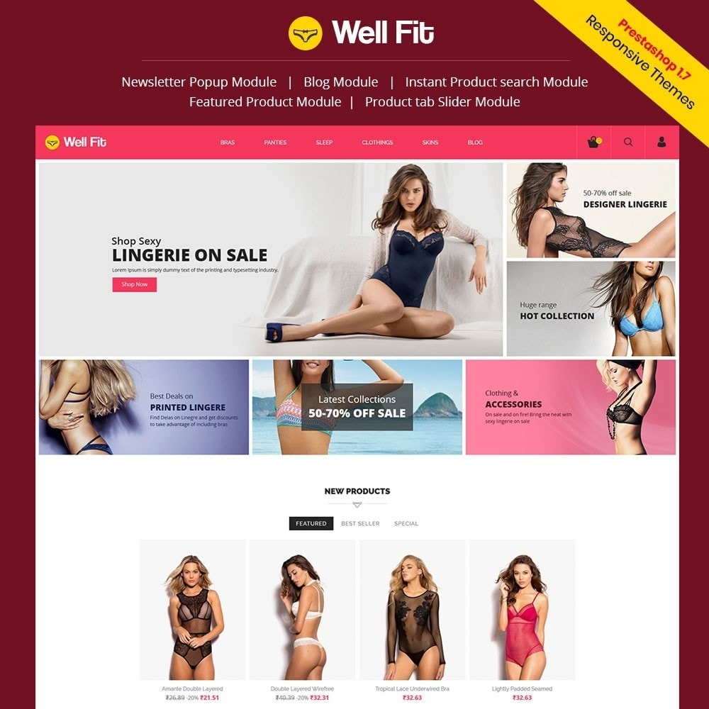 theme - Mode & Chaussures - Wellfit - Lingerie  Fashion Store - 1