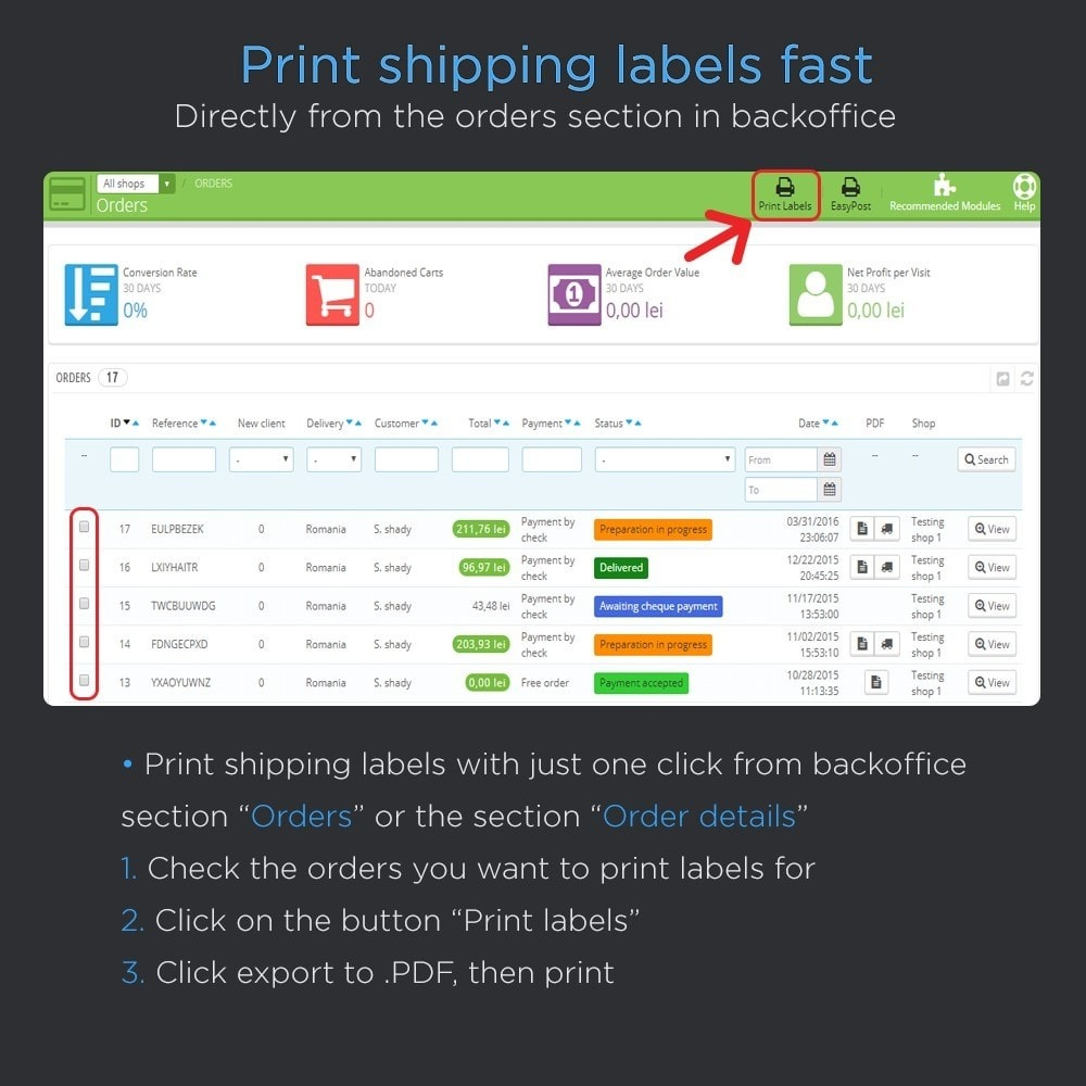 module - Preparazione & Spedizione - Print Shipping Labels Pro (Address Direct Print) - 2