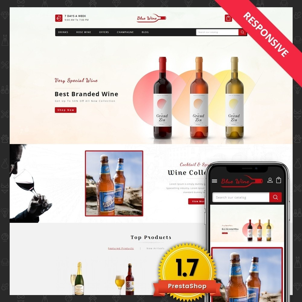 theme - Boissons & Tabac - Blue Wine Store - 1