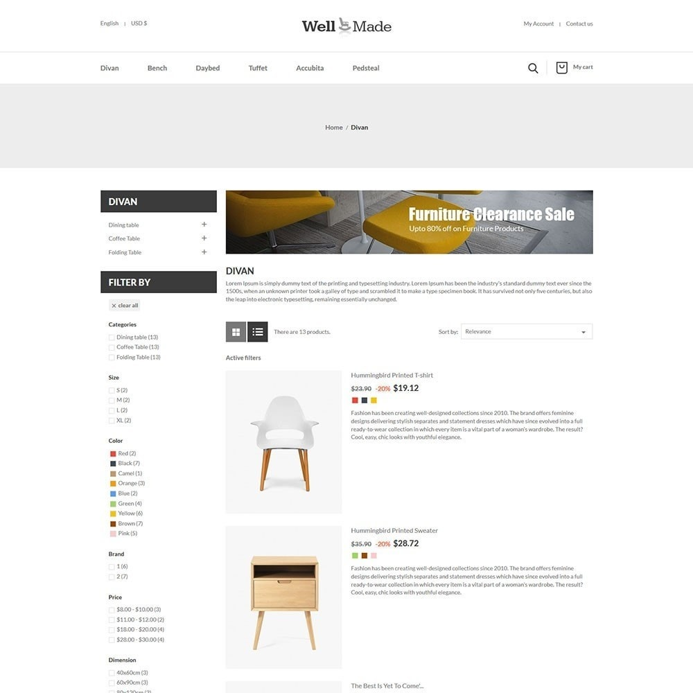 theme - Mode & Chaussures - Wellmade Light Furniture Store - 4