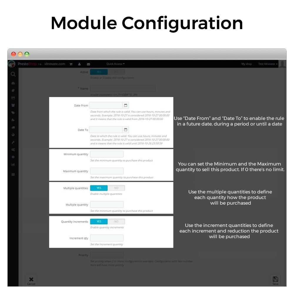 module - Inscripción y Proceso del pedido - Cantidad mínima y máxima de compra de producto - 3