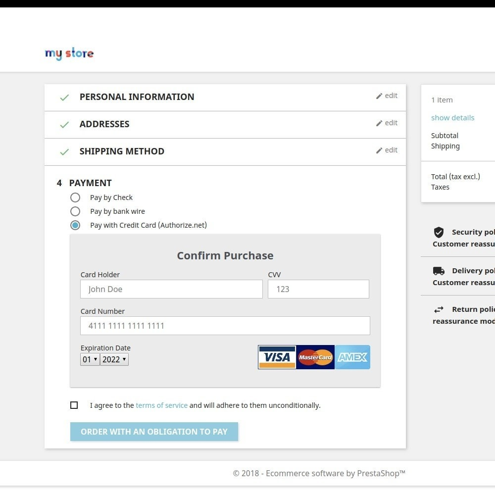 module - Payment by Card or Wallet - Authorize Payment Gateway - 1