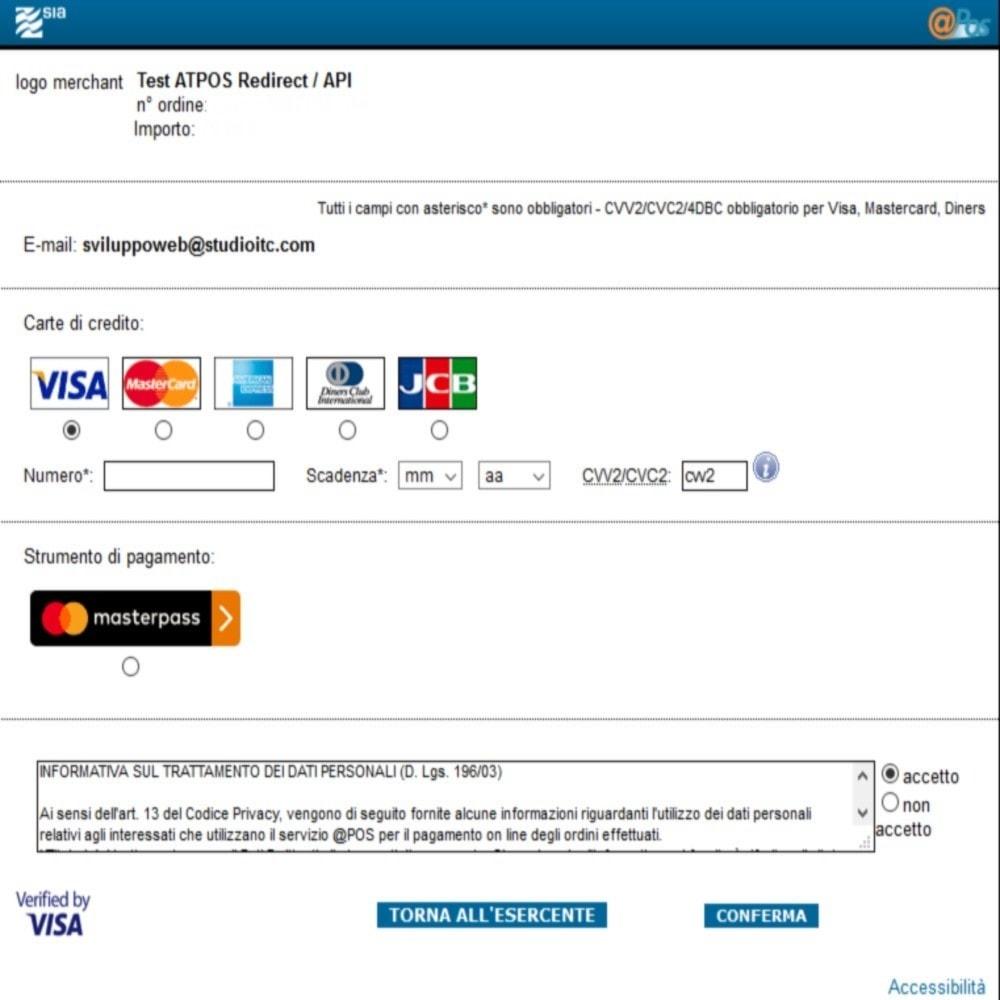 module - Pagamento con Carta di Credito o Wallet - Pagamento @Pos SIA - 5