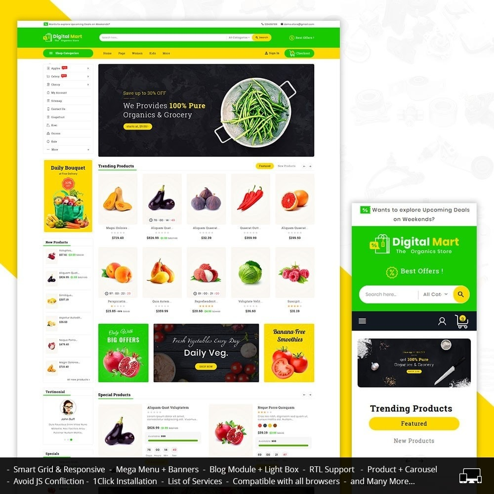 theme - Alimentos & Restaurantes - Digital Mart Grocery Food - 1