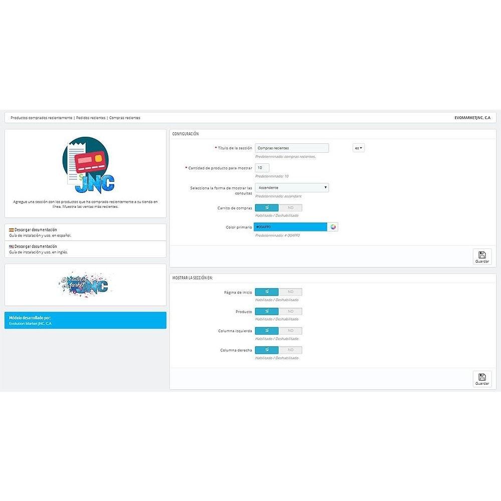 module - Gestión de Pedidos - Productos comprados recientemente   Pedidos recientes - 3