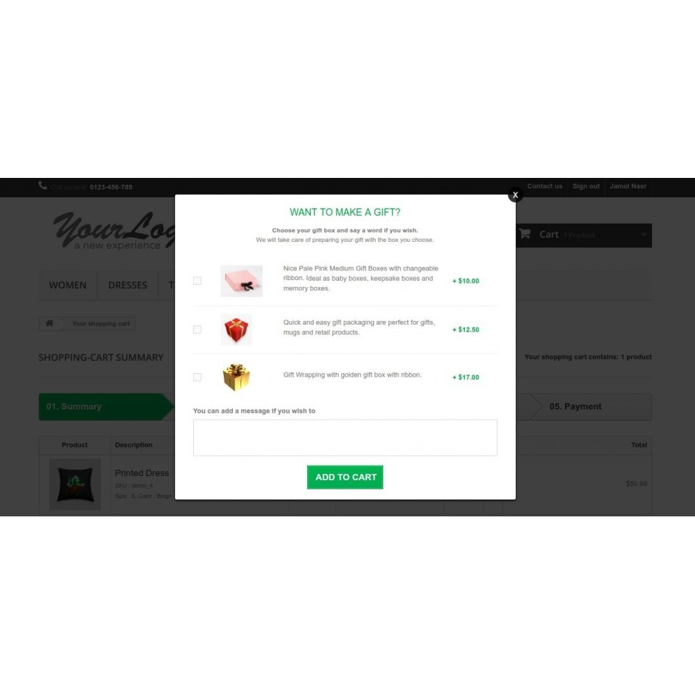 module - Всплывающие окна - Gift Wrapping Service Popup on Checkout Page - 2